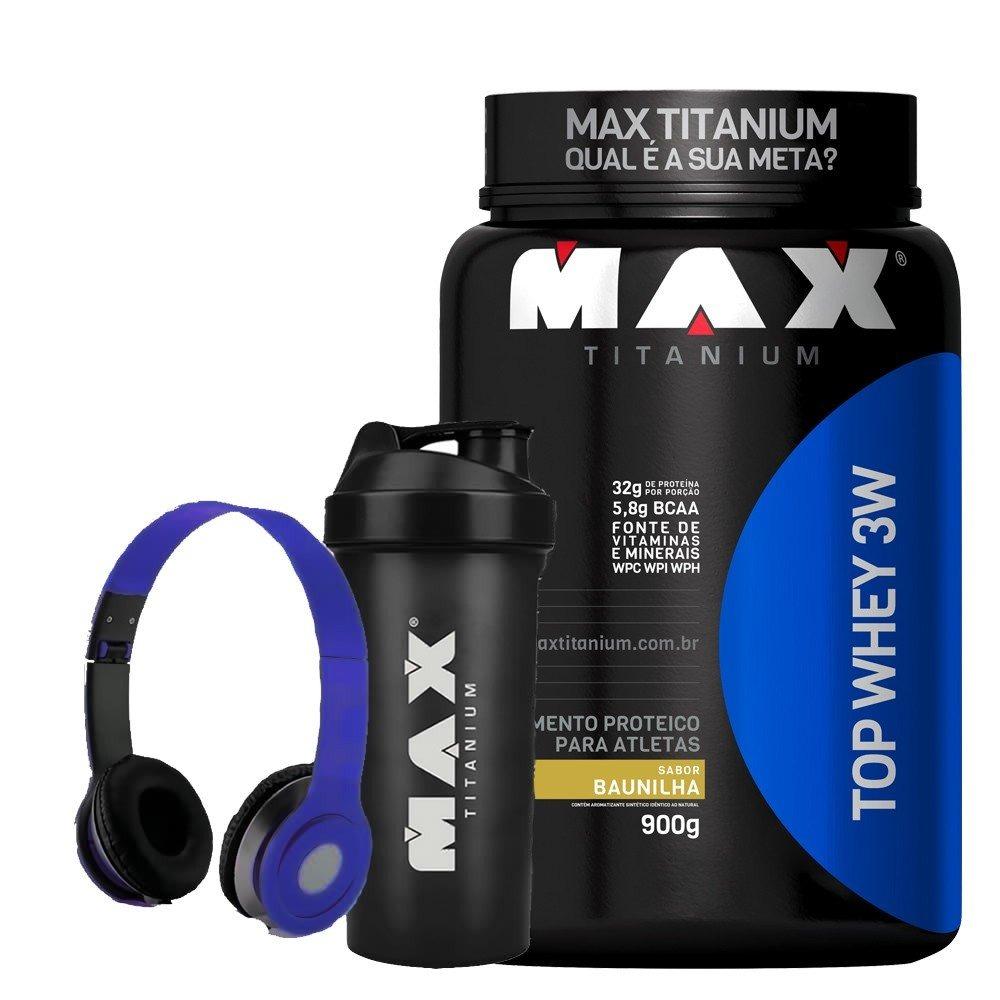 Top Whey 3w - Max Titanium - 900g - Whey Protein + Brindes