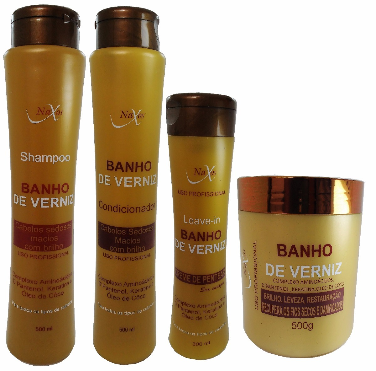 Kit Shampoo+cond+máscara+leave-in Banho De Verniz Naxos