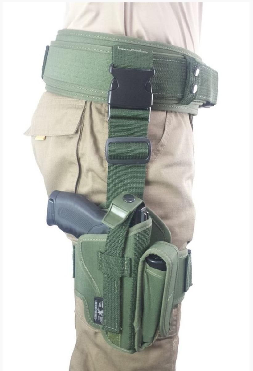 Kit Coldre De Coxa Para Pistola + Cinto Tático F.n  Verde