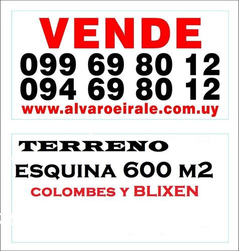 # malvin:terreno 600 m2* esquina  altura 6 pisos