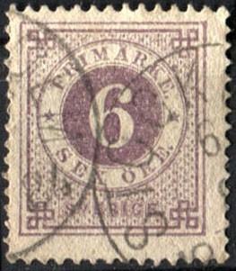 0058 suecia numeral scott #31 6 o usado l h 1877-79