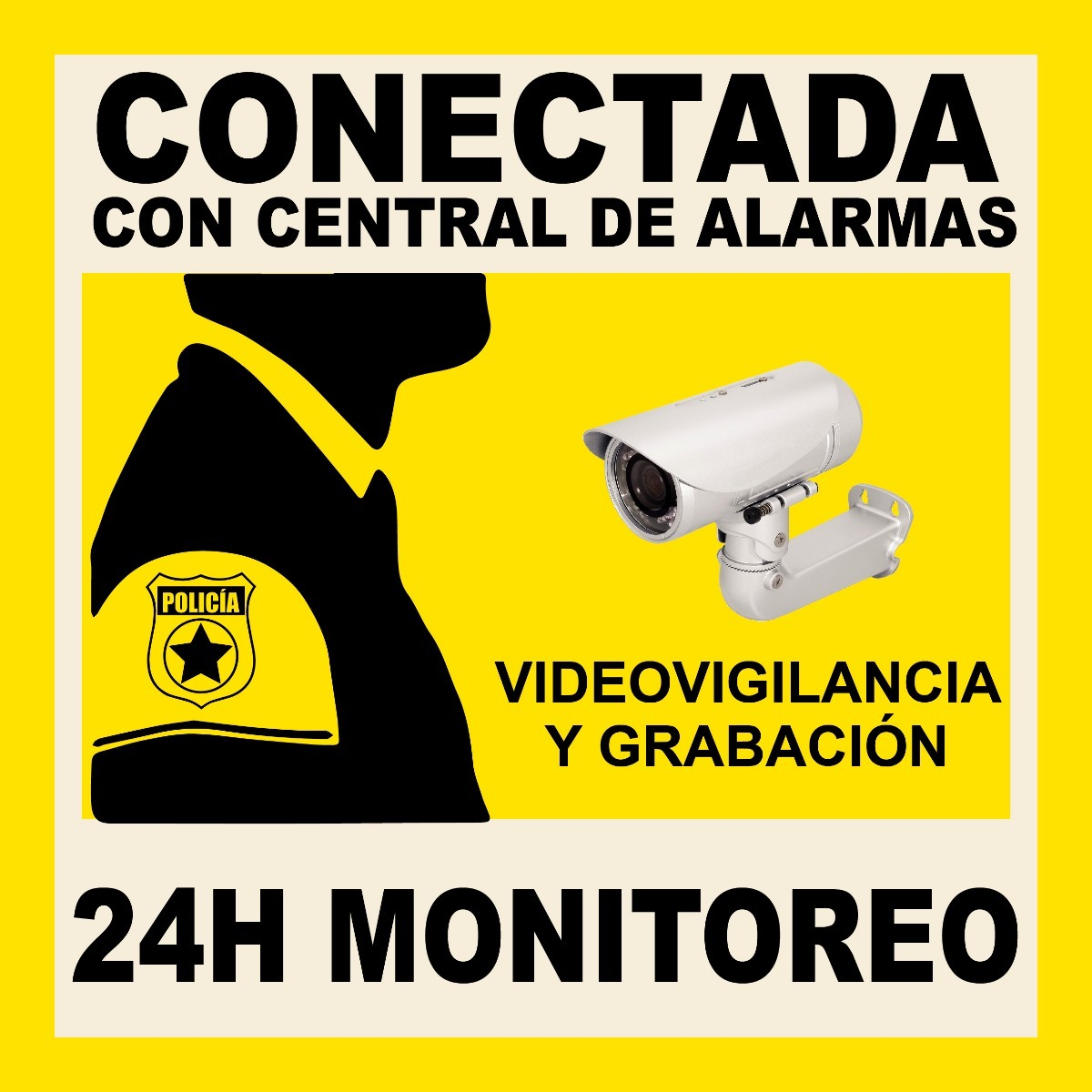 Carteles Cámara Seguridad Alarma Pvc (24x24cms)