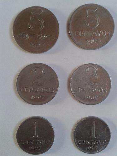 1 * 2 * 5 centavos 1967 - 1969 brasil l05