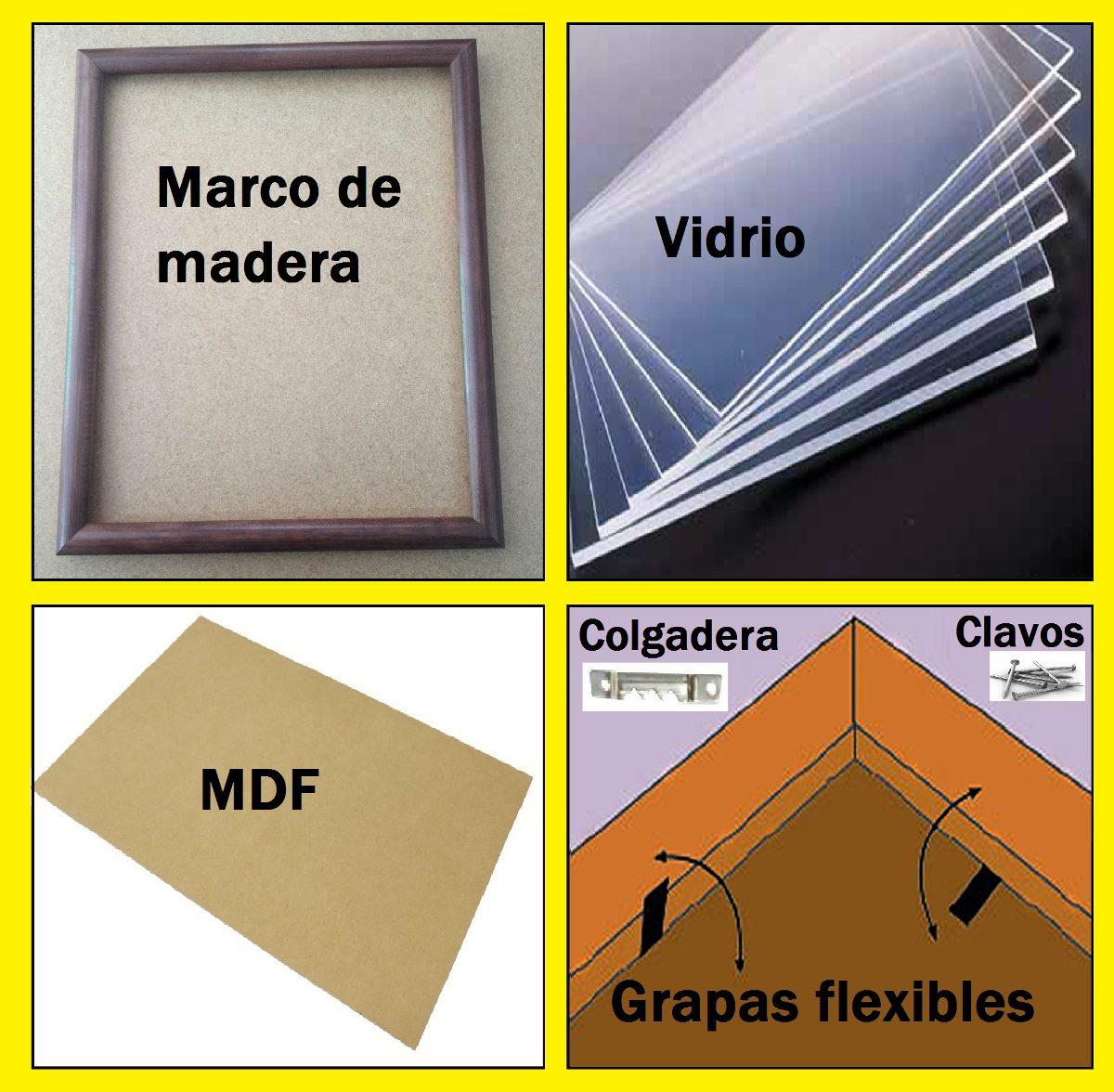 10 Marcos De Madera,(marco,vidrio,mdf,caiman,grapas) 20x25cm ...