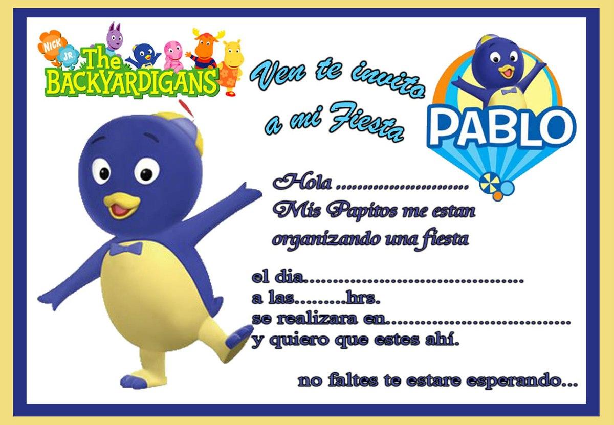 10 Tarjetas De Cumpleanos Invitaciones Backardigans Pocoyo 4500 - Tarjetas-de-invitacion-cumpleaos