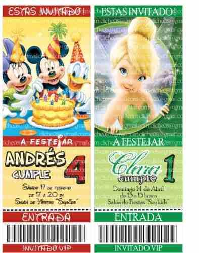 10 Ticket Tarjetas Invitaciones Cumpleanos Infantiles Foto 160 - Tarjetas-de-invitacion-cumpleaos