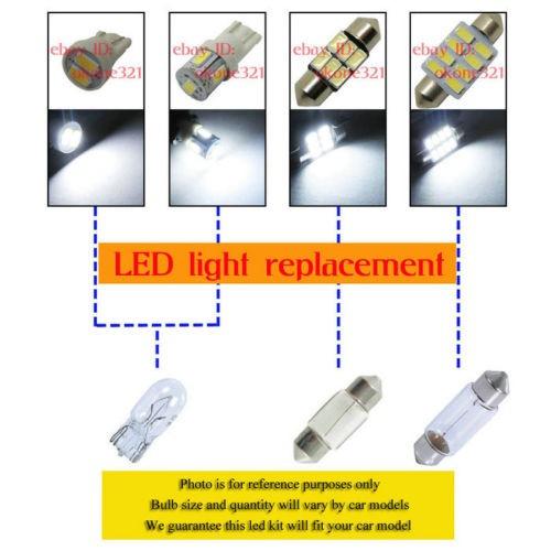 11-pc de lujo licencia blanco domo interior led paquete kit