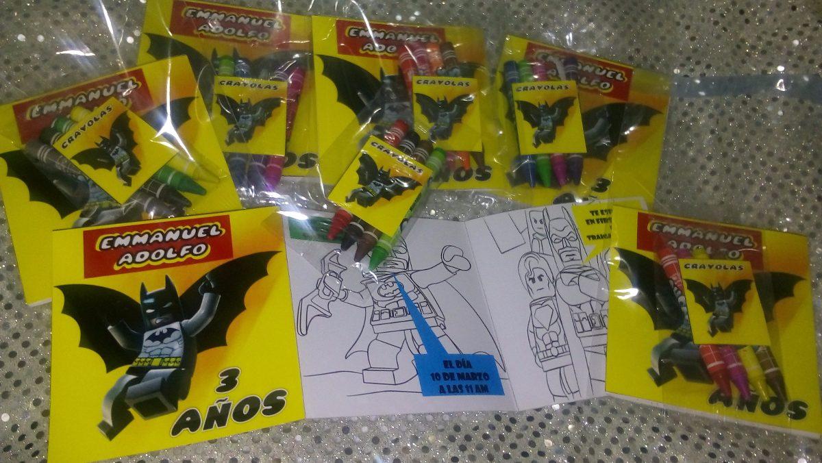 12 Invitaciones Batman Lego Para Colorear Incluye 4 Crayolas ...