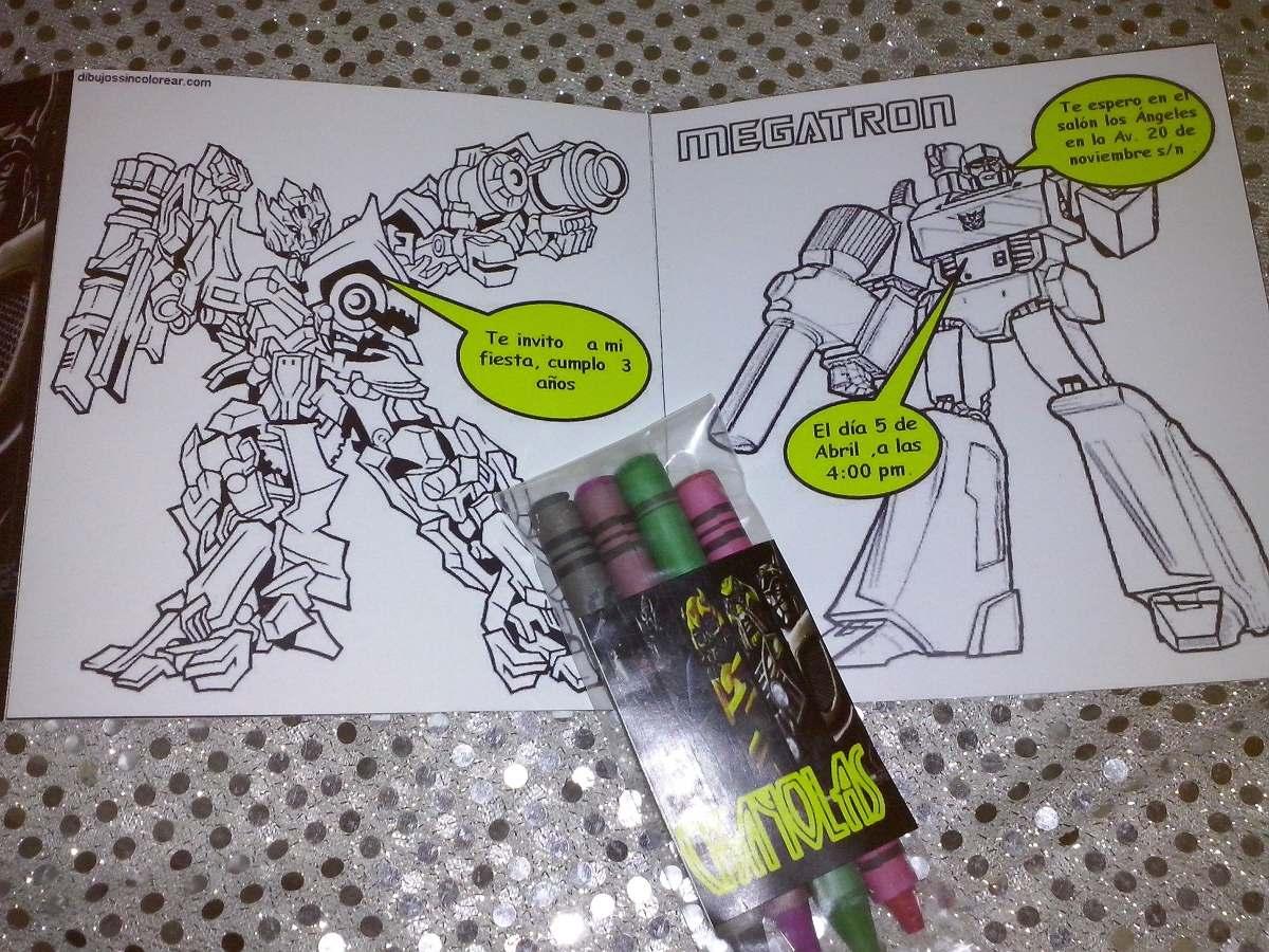 12 Invitaciones Transformers Para Colorear Incluye Crayola ...