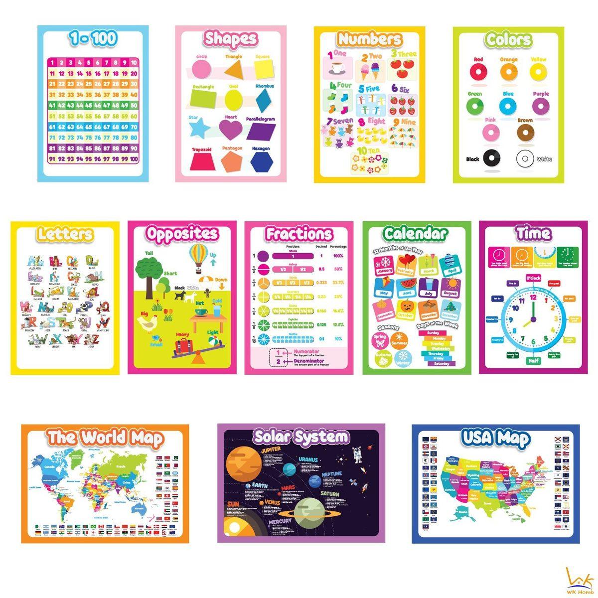 12 Posters De Pared Educativo Para Niños Pequeños, Casa S - U$S 79 ...