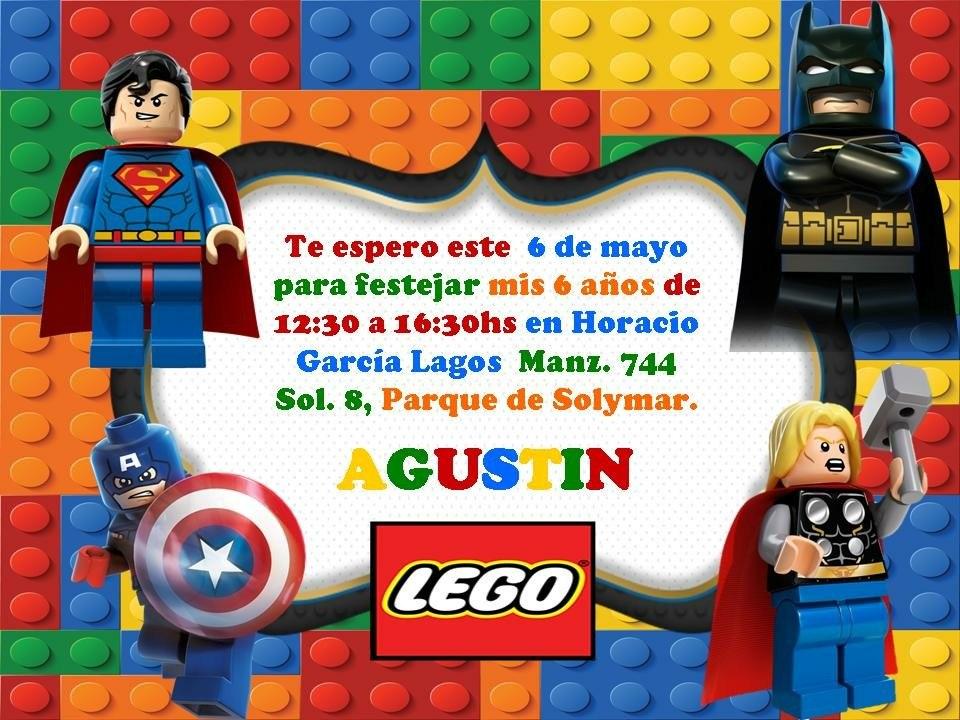 15 Tarjetitas Invitación Cumple Lego Batman Patrulla Canina