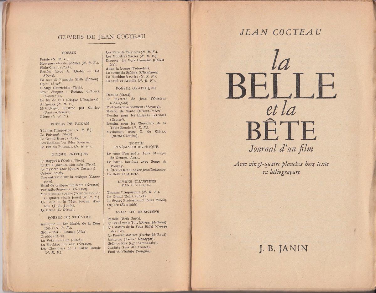 1946 Jean Cocteau La Belle Et La Bete Journal D Un Film Raro