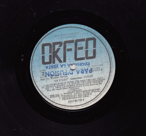 1984 vinilo on stage musica disco varios orfeo uruguay promo