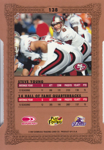 1997 donruss preferred cut to the chase steve young qb 49ers