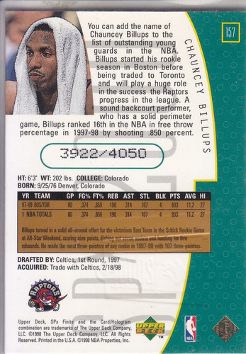 1998-99 spx finite chauncey billups raptors /4050