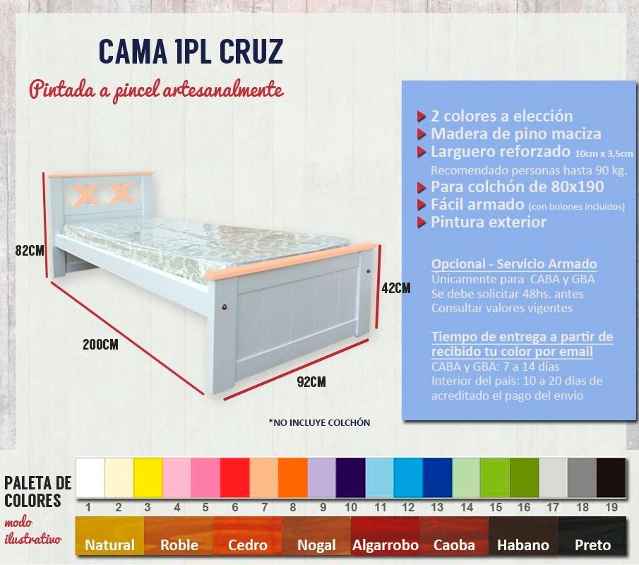 Cama 1pl Cruz 2 Colores Niños Juvenil P/ 80x190 Cb Muebles - $ 2.890 ...