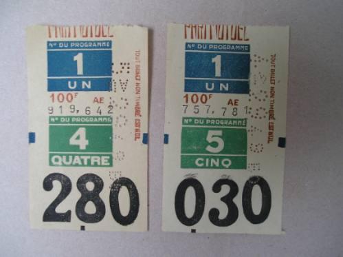 2 antiguos boletos de carreras de  caballos de francia