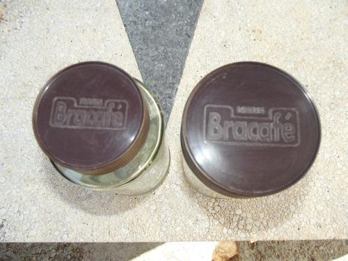 2 antiguos frascos muy grandes 1,5 lts bracafé con tapa