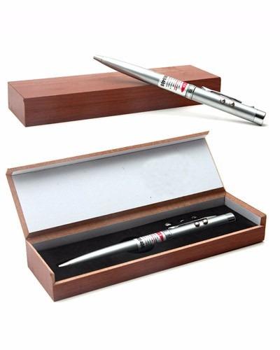 2 caneta laser e lanterna esferografica estojo caixa madeira