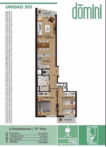 2 dormitorios, con terraza sobre calle canelones