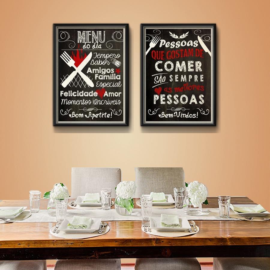 2 Quadros Cozinha Gourmet Frases Decoracao Moldura Vidro R 229 00