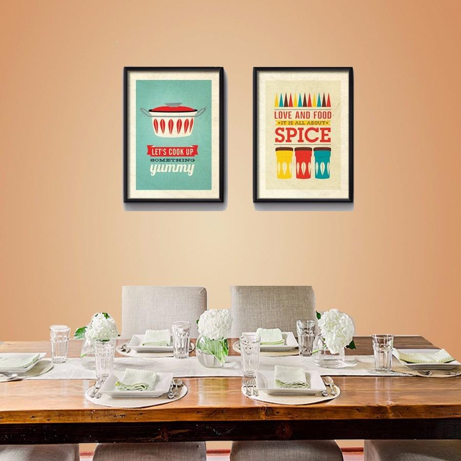 2 Quadros Cozinha Pop Art Temperos Varanda Gourmet Decoracao R