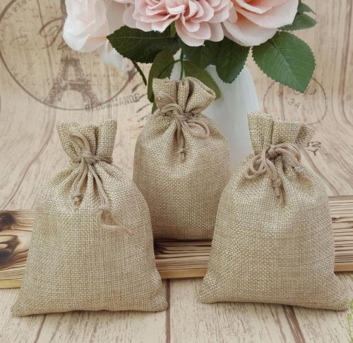 20 piezas bolsas de arpillera bolsas de joyería con cordó