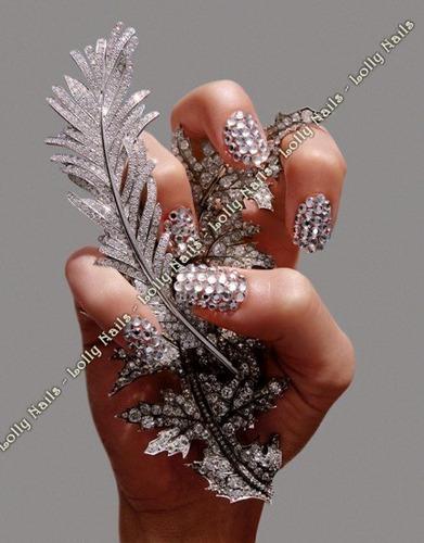 200 strass piedritas- uñas naturales esculpidas nail art