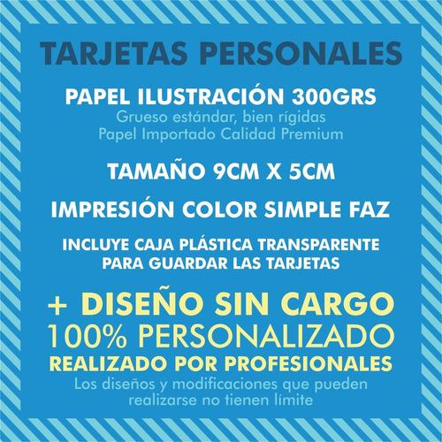 200 tarjetas de presentacion 9x5cm 300grs + diseño gratis