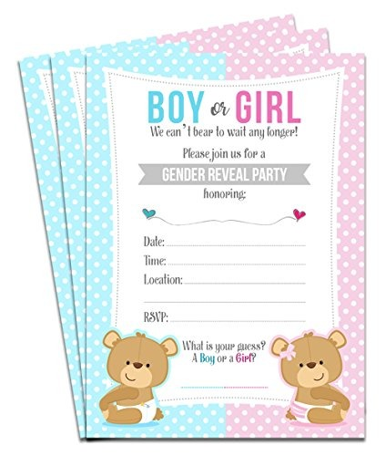 460e262858eb0 25 Bebé Bebe Género Revela Baby Shower Invitaciones De Fi - U S ...