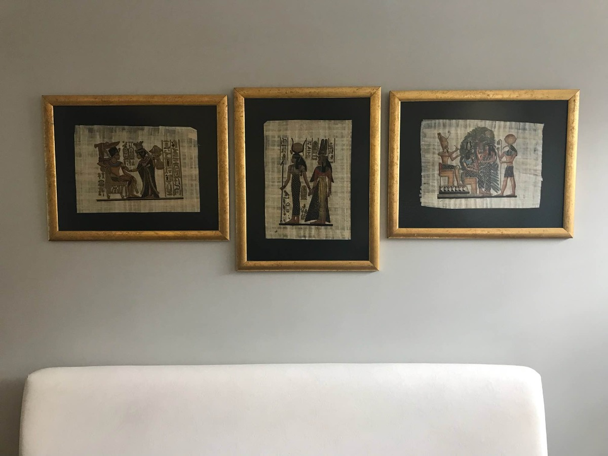 3 Cuadro Con Papiros Egipcios Originales (precio Es X Los 3 ...