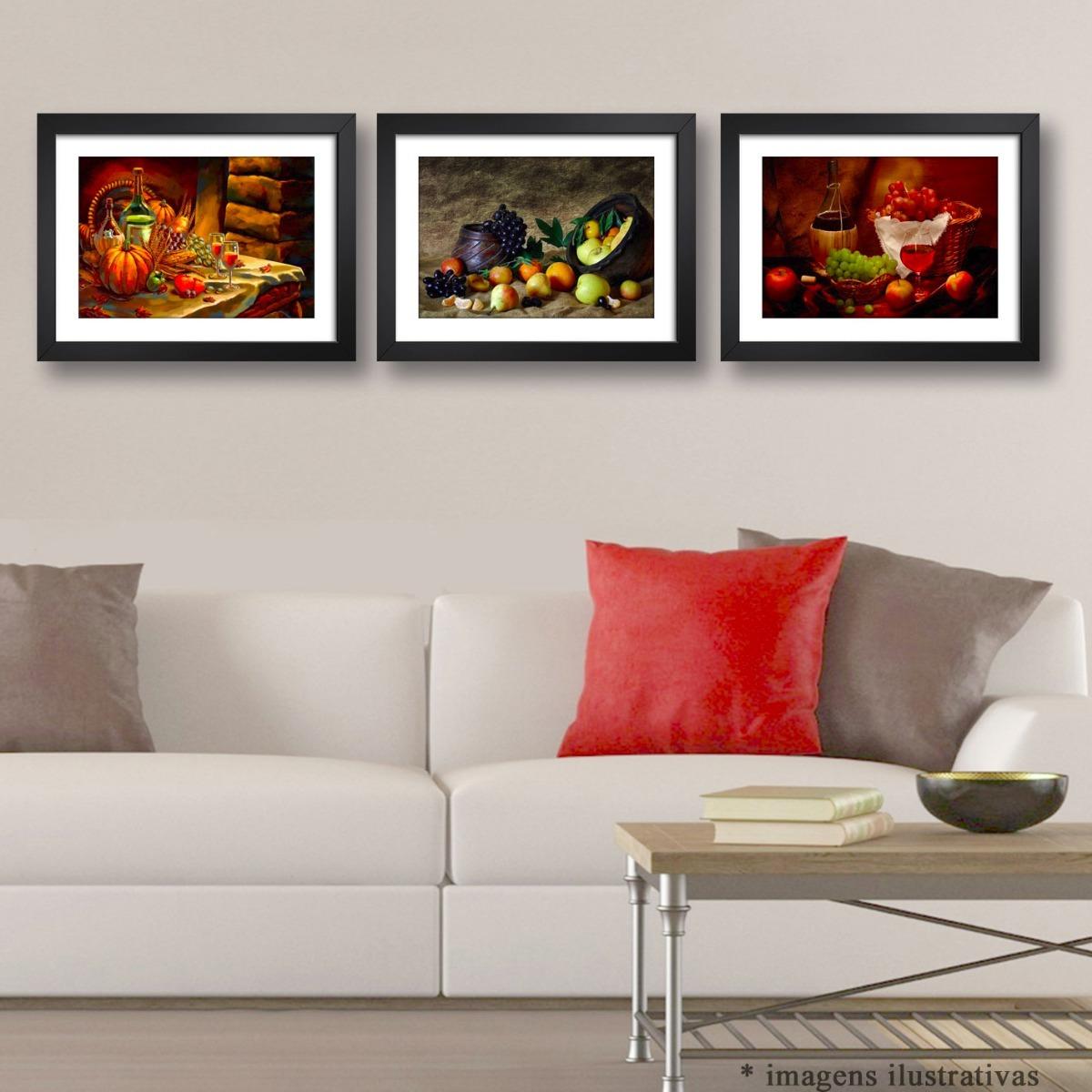 3 Quadros Cozinha Frutas Vinho Decorativo Copa Sala Varanda R 335