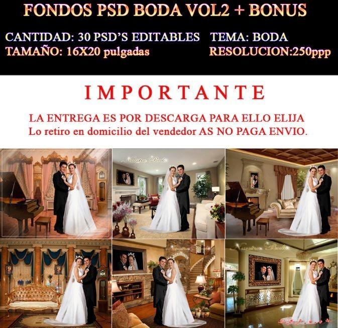 30 Fondos Boda Psd Plantillas Boda Templates Bonus 16x20 - $ 100.00 ...