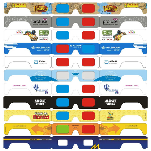 30 óculos 3d red/cyan - lente hd - loja da fábrica