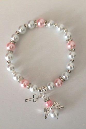35 pulseras recuerdo bautizo rosa niña babyshower comunion