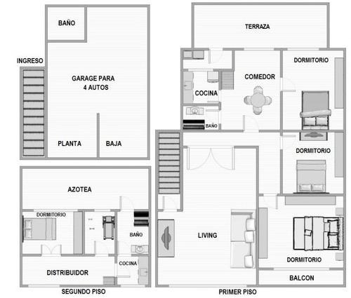 4 dormitorios - casa en reducto
