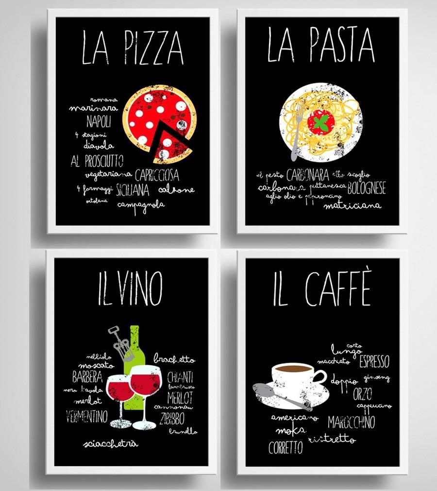 4 Quadros Cozinha Gourmet Chef Vinho Cafe Pizza Decoracao R 419