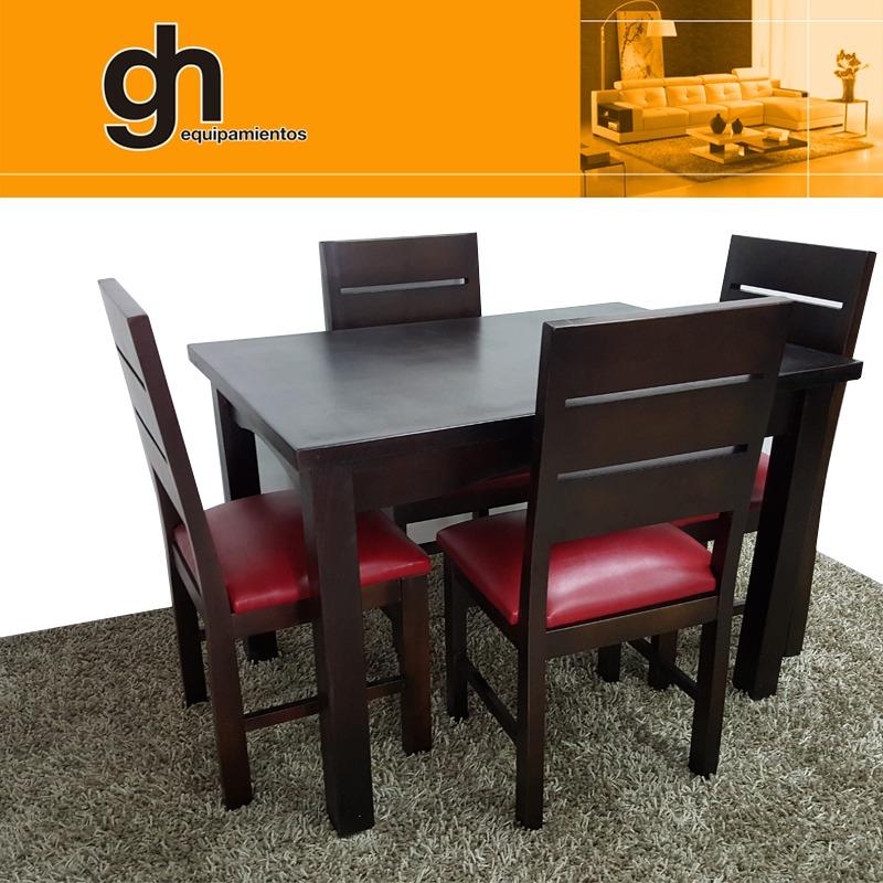 4 sillas minimalistas 100 madera maciza con mesa gh for Mesas de comedor usadas
