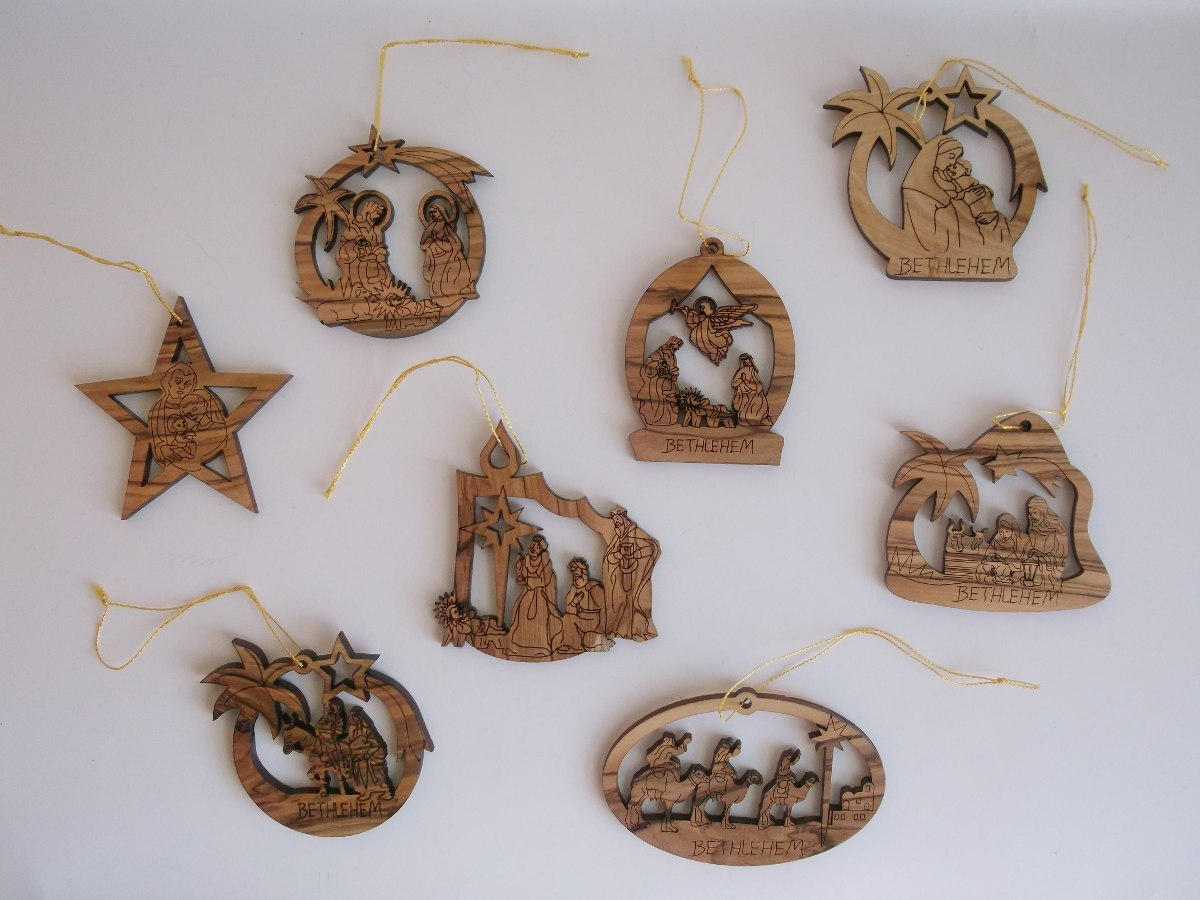 5 Adornos Navidad Madera Olivo Tierra Santa Israel 55000 en
