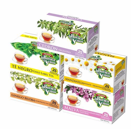 5 cajas de té botica del señor 25 saquitos