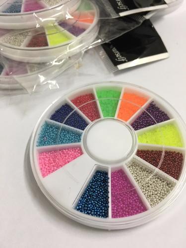 5 discos caviar unhas decoradas micro perolas 12 cores