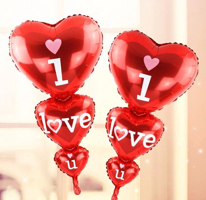 5 Globos Corazon I Love You Amor San Valentin Enamorado 75cm 199