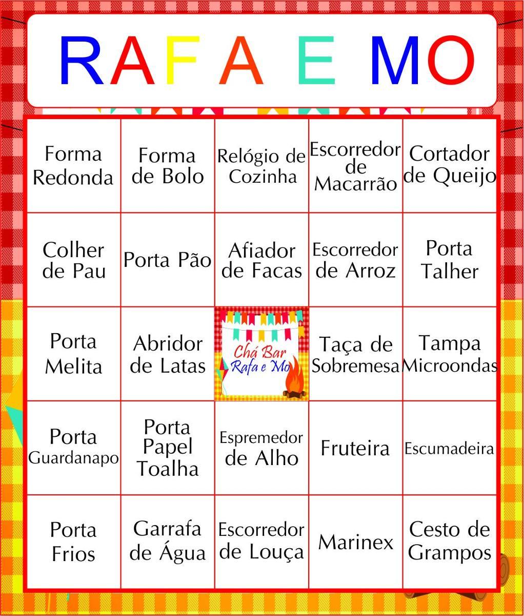 50 Cartelas Bingo Ch De Panela Personalizada Envio Email R 27 00