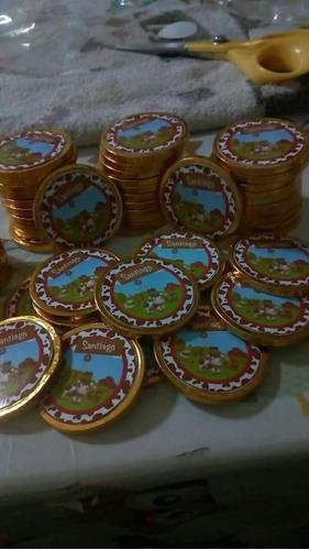 50 monedas de chocolates de 4.5cm pago acordar c vendedor .