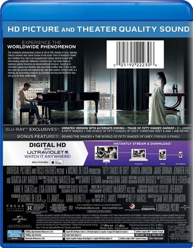 50 sombras de grey - (bluray+dvd) - sin censura + extras.