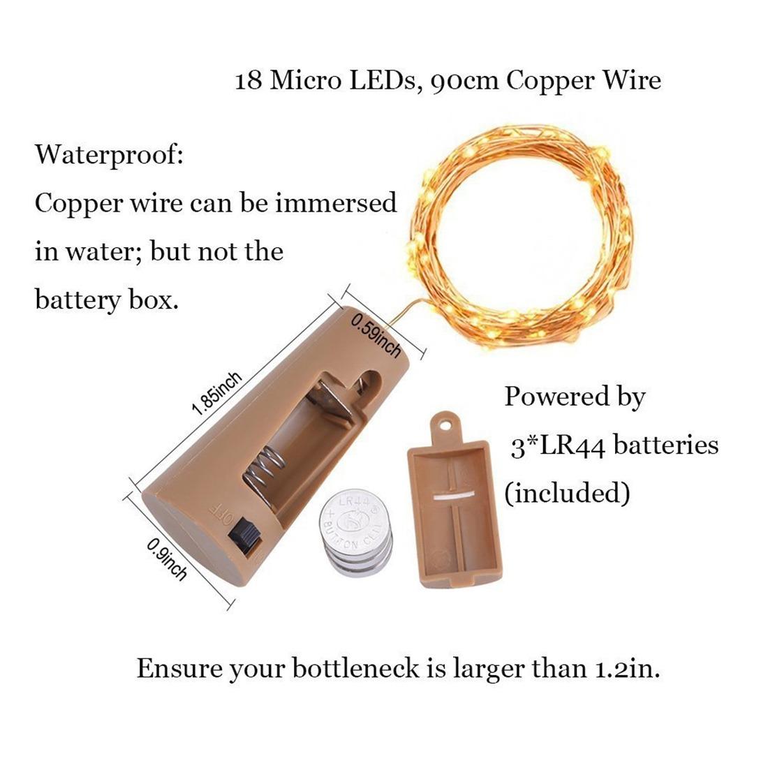 1e320ea7a90 6 pcs 18 led impermeable mini botella cork cobre cadena luz. Cargando zoom.
