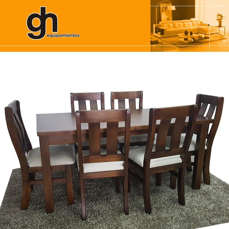 6 Sillas Y Mesa Para Cocina Y Comedor En Madera Maciza Gh - $ 20.990 ...