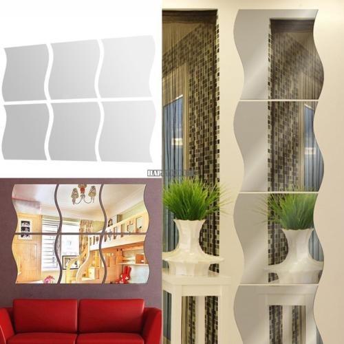 6 Unids Diy Hogar Extraible Espejo De Pared Pegatina Art Vin - Diy-hogar