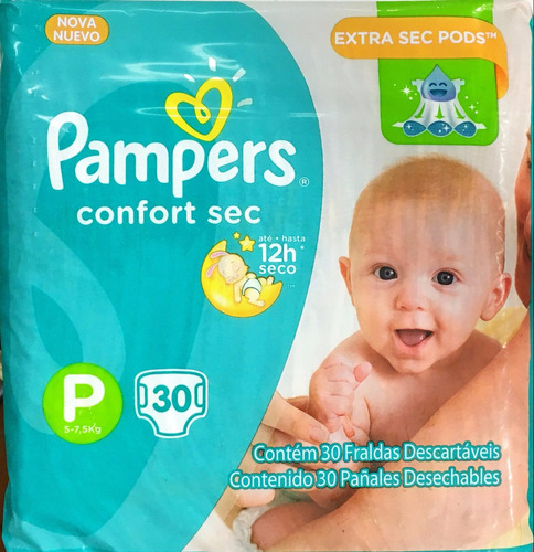 90 pañales pampers confort extra sec pods pequeño