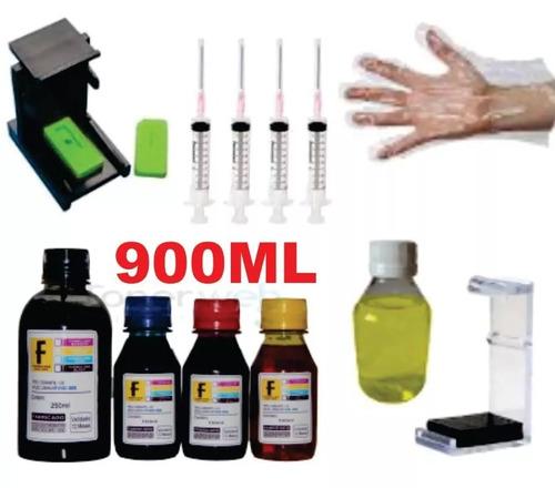 900ml kit tinta recarga cartucho hp 664 662 122 60 75 901 xl